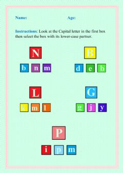 Interactive worksheet Matching uppercase and lowercase letters