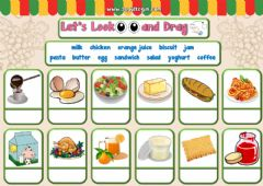 Interactive worksheet 4.10. Food and Drinks - Let's Look and Drag