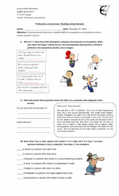 Interactive worksheet Professions around town - Reading task