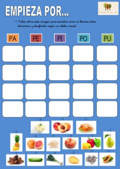 Interactive worksheet Alimentos con p