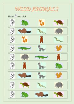 Interactive worksheet Wild animals part 1