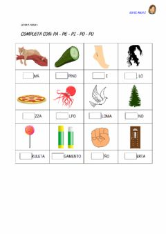 Interactive worksheet Letra p: ficha 4