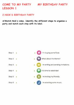 Interactive worksheet ORGANISING A BIRTHDAY PARTY
