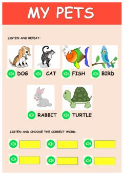 Interactive worksheet My pets-1