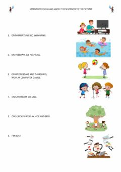 Interactive worksheet It's a busy week song