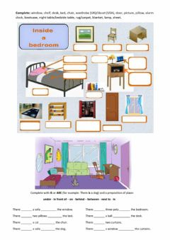 Interactive worksheet Bedroom furniture - Prepositions of place