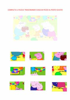 Interactive worksheet Puzzle 9 pezzi PEPPA PIG- COMPLEANNO