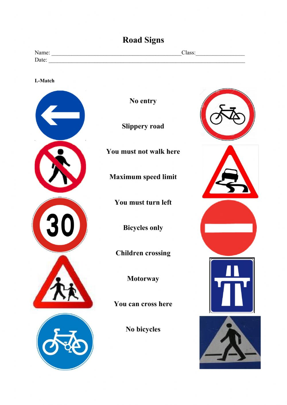 Road Signs Activity