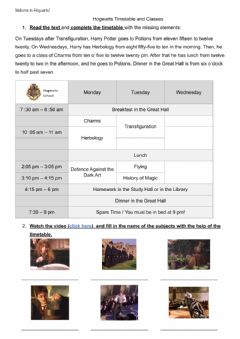 Interactive worksheet Harry Potter timetable