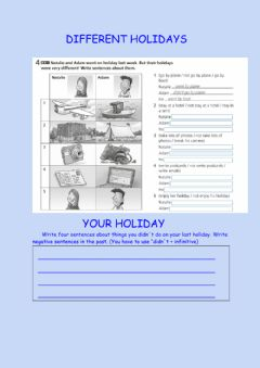 Interactive worksheet Different holidays