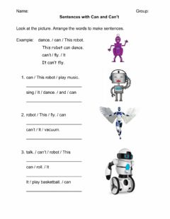Interactive worksheet Can and Can't with Robots
