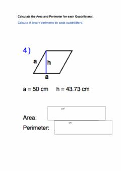 Interactive worksheet Area and perimeter