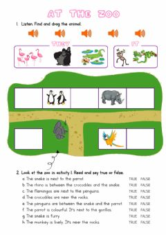 Interactive worksheet At the Zoo