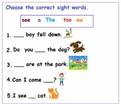 Interactive worksheet Sight Words: Worksheet -2