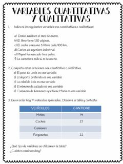 Interactive worksheet Variables cuantitativas y cualitativas