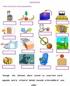 Interactive worksheet Prepositions of place and movement