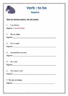 Interactive worksheet Verb to be - negative
