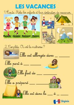 Interactive worksheet Les vacances