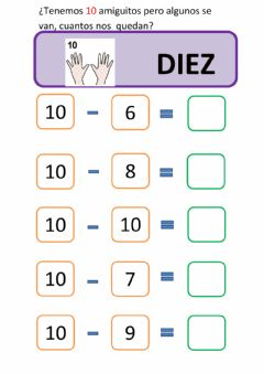 Interactive worksheet Restas amigos del 10