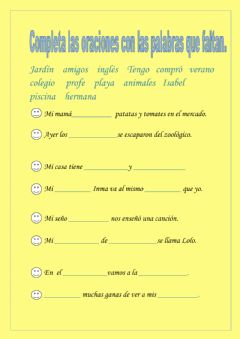 Interactive worksheet Completar con palabras