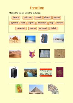 Ficha interactiva Travelling vocabulary