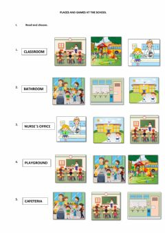 Ficha interactiva Places and games in the school- Multiple choice