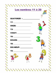 Interactive worksheet Les nombres 11 à 20