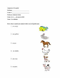 Interactive worksheet Los Animales 1