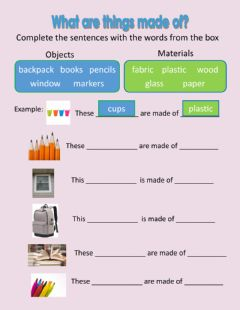 Interactive worksheet What are things made of?