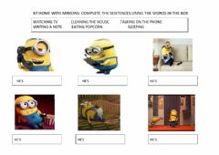 Ficha interactiva At home with minions