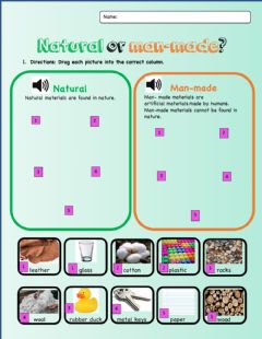 Interactive worksheet Natural and Man made Materials