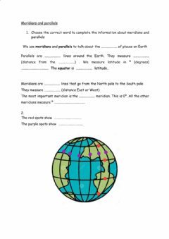 Interactive worksheet Parallels and meridians
