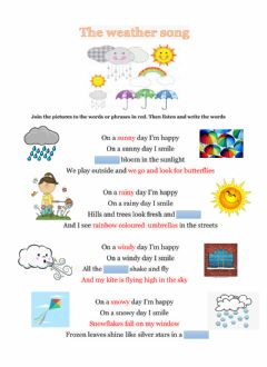 Interactive worksheet The weather song