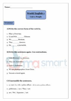 Interactive worksheet Test 1- World English