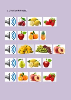 Interactive worksheet Fruits. Listen and choose.