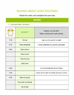 Interactive worksheet Talking about daily routines