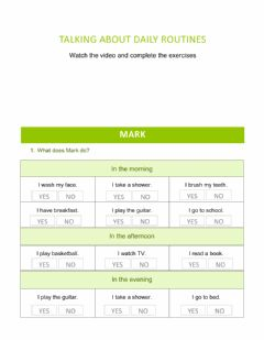 Interactive worksheet Talking about daily routines - Easy