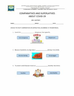 Interactive worksheet Comparative and superlatives about covid-19