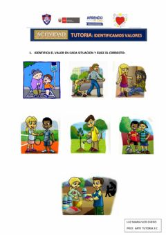 Interactive worksheet Los Valores