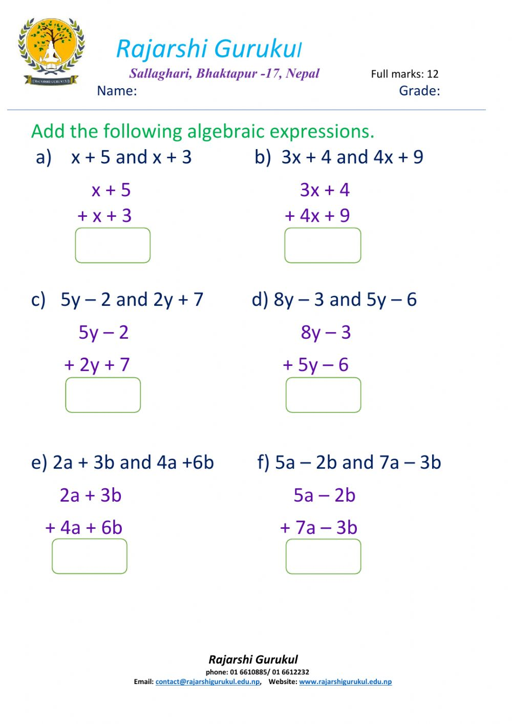 - Addition Of Algebraic Expressions Interactive Worksheet