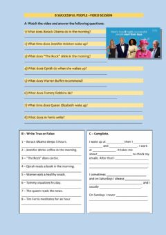 Interactive worksheet Famous People's Routine