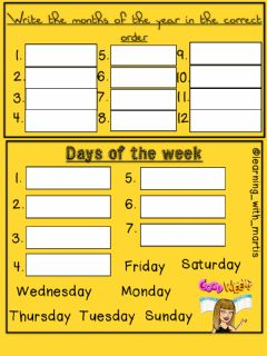Interactive worksheet Days of the weeks & months