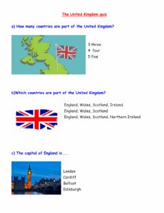 Interactive worksheet The United Kingdom quiz