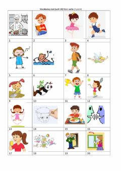 Ficha interactiva Vocabulary test unit 14 Family and friends 1