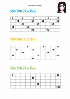 Interactive worksheet Contar de 2 en 2