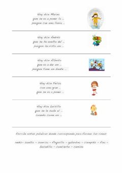 Interactive worksheet Formar poemas cortos