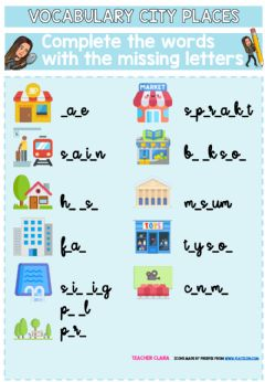 Interactive worksheet City places missing letters