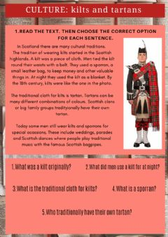Interactive worksheet Culture kilts and tartans