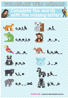 Interactive worksheet Wild animals missing letters