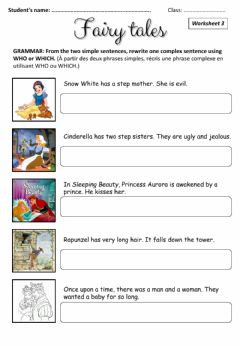 Interactive worksheet Fairy Tales - relative pronouns